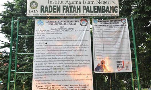 Banner persyaratan bakal calon DEMA (Fakultas dan Universitas) dan Himpunan Mahasiswa Jurusan. UIN Raden Fatah Palembang.
