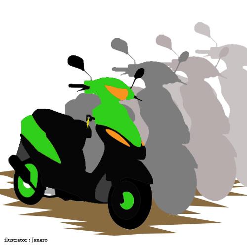 Ilustrasi sepeda motor yang sedang diparkir, salah satunya dengan kunci yang masih melekat dikendaraan. (Janero).