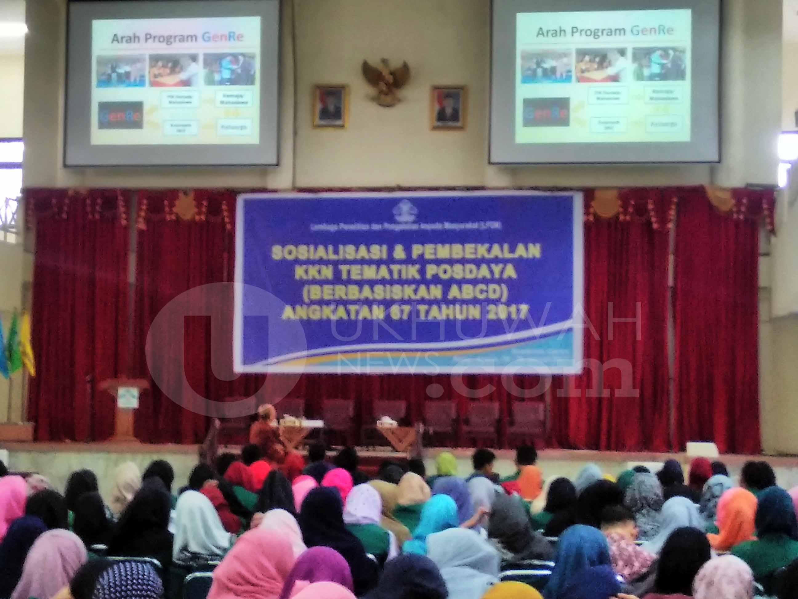 Sosialisasi dan pembekalan KKN tematik posdaya (berbasiskan abcd) angkatan ke 67 tahun 2017 yang diselenggarakan oleh Lembaga Penelitian dan  Pengabdian kepada Masyarakat (LP2M), di gedung Academic Center Universitas Islam Negeri Raden Fatah (UIN RF) Palembang Rabu, 25/01/2017.