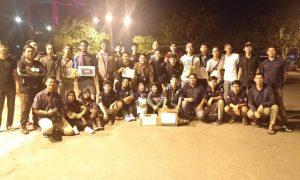 organisasi di UIN RF Palembang yang ikut menggalang dana diantaranya, UKMK MMKR, IMBI, HOCKEY, PSM, TAEKWONDO, dan KARATE berfoto bersama setelah melaksanakan kegiatan penggalangan dana di pedestrian sudirman Palembang, (7/8/2018). IST